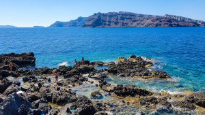Rocky surface of the Ammoudi Beach