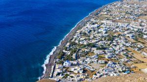 Bird's-eye view of Perissa, Perivolos and Agios Georgios beaches