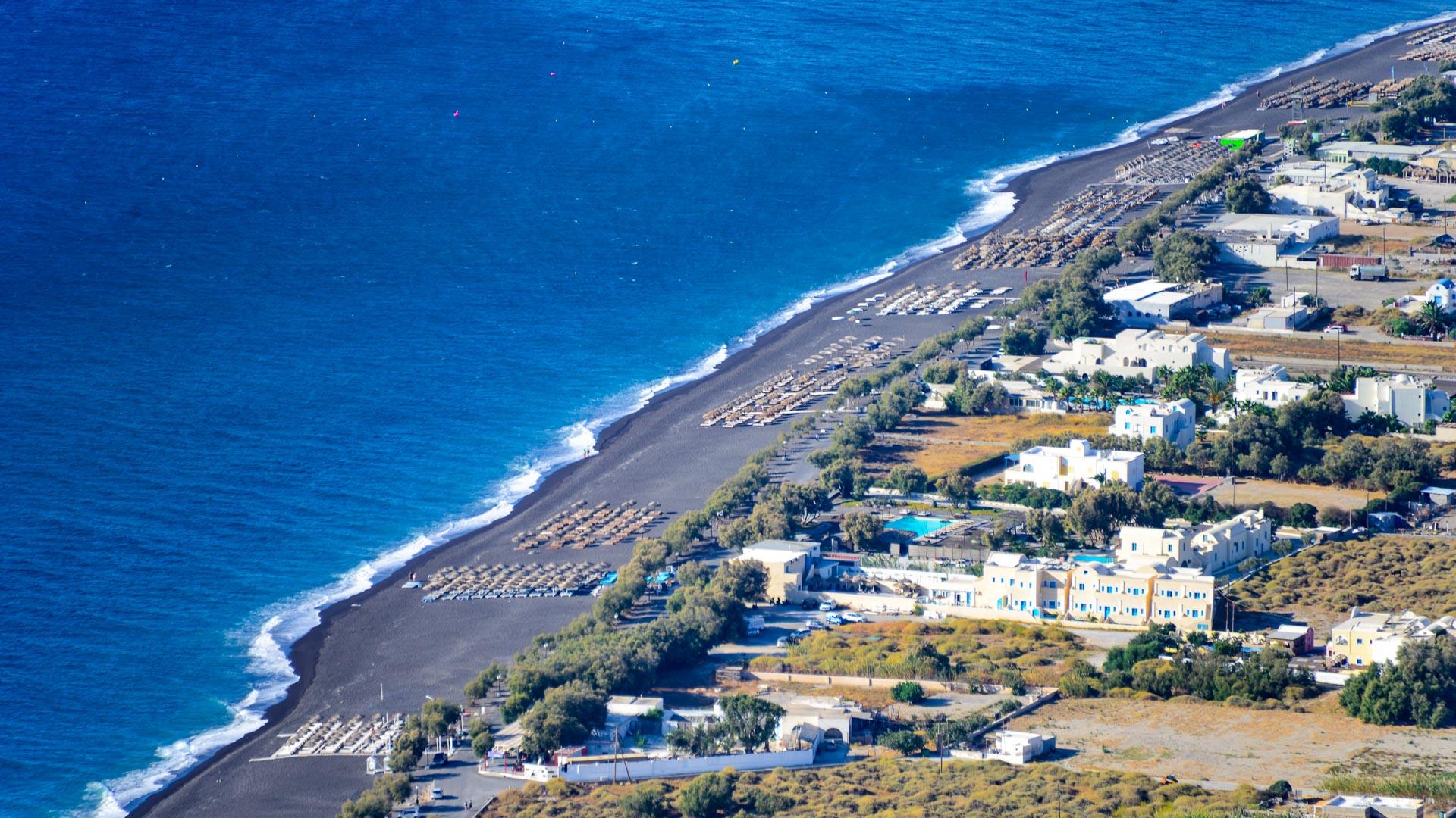 Bird's-eye view of Perivolos Beach