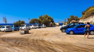 Parking area at Theros Beach