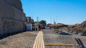Wooden path on Vlychada Beach