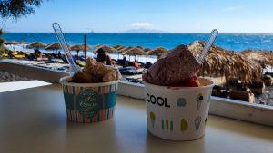 Ice cream break at Kamari Beach