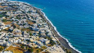 Birdseye view of the Kamari Beach