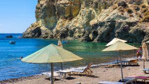 Sun umbrellas and sunbeds on Kambia Beach