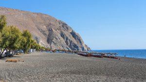 Wide backshore of Perissa Beach