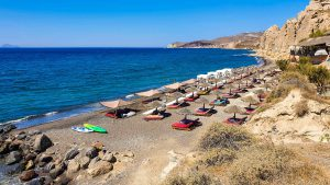 Umbrellas and loungers on Theros Beach
