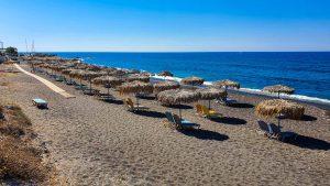 Beach umbrellas on Vlychada Beach
